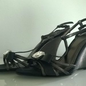 COACH Metallic Black Jeweled Ribbon Bow Sandal 7